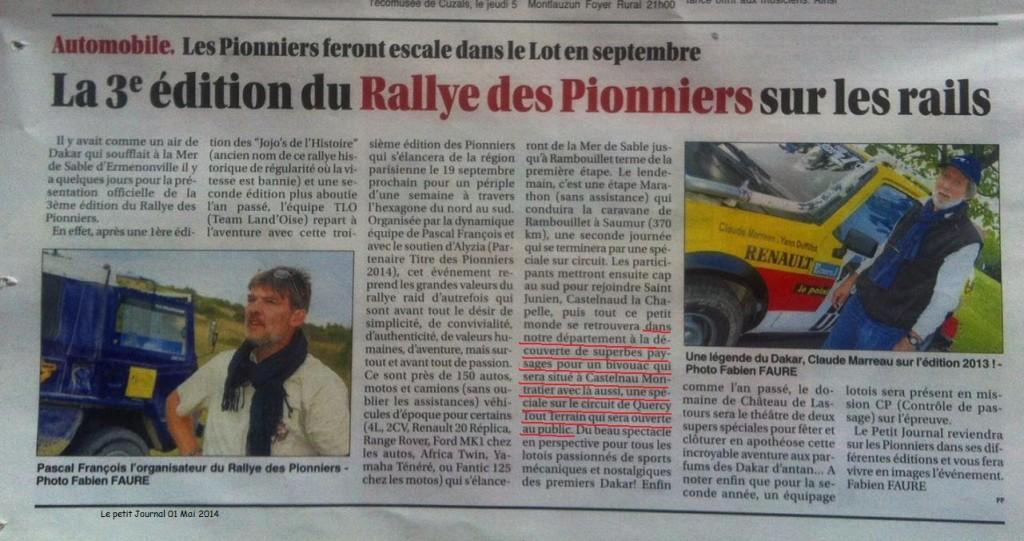 Le petit journal du Lot et QuercyTT / les Pionniers 01.05.2014